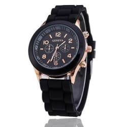 Retro Geneva Chronograph Dial Design Black Strap Wrist Watch for Girls Women !!