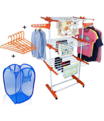 TNC Easy 3 Layer Mild Steel Power Dryer Cloth Drying Stand With Laundry Bag & 6 Pcs Hangers Combo Made In India