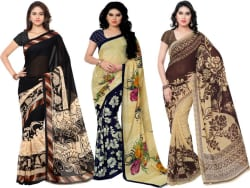 Anand Sarees Printed Fashion Georgette Saree (Pack of 3, Multicolor)