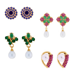 Sri Jagdamba Pearls Combo Of 4 Pair Daily Wear Earrings