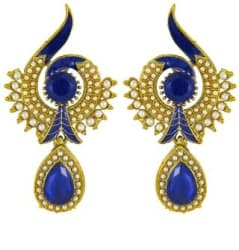 Traditional Ethnic Blue Peacock Dangler Earring with Crystal & Artificial Pearl for Women by Donna ER30021G