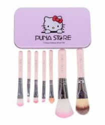 Cosmetic Makeup Brush Set - 7 Piece Set with Storage Box - Pink