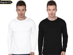 Men s Full Sleeves Tshirt Combo Cotton Spandex & Drifit Black & White Osiyankar