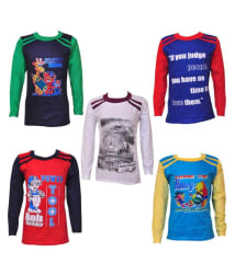 Pari & Prince Hosiery Full Sleeves T-shirts - Pack of 5