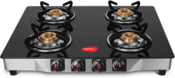 Pigeon Ultra Glass, Stainless Steel Manual Gas Stove (4 Burners)