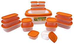Princeware SF Packing Plastic Container Set, 17-Pieces, Orange