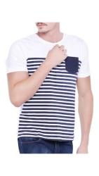 Stylogue Trendy White Stripes T-shirt For Men