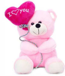 Tabby Toys Pink Soft Teddy With Heart Shape Baloon-30cm
