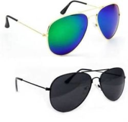 Elgator Men s Green Reflector And Black Aviator Sunglass (ReflGreen-AvBlk)
