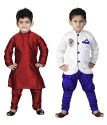 Nikunj MultiColor Silk Kurta Pyjama Combo For Boys
