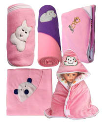 My Newborn Pink Fleece Baby Blanket ( 66 cm × 66 cm- 5 pcs)