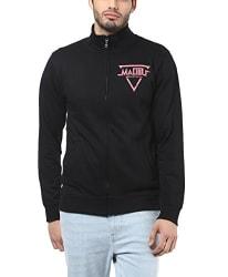 AMERICAN CREW Men s Printed Full Sleeves Zipper Jacket (Black)
