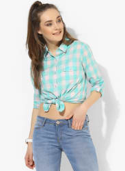 Aqua Blue Checked Shirt