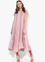 3/4Th Sleeves Printed Kurta With Embroidery Detailing At Neck And Block Printing At Bottom With Churidar