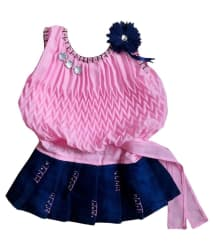 MF Pink Cute Comfortable Georgette Dress for Baby Girl (0-6 Months)