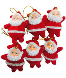 Priyankish Plastic Christmas Tree Decoration Red-(Pack of 6)