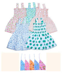 Sathya Multicolor Cotton Frock with Bib - Pack Of 5