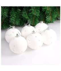 White Xmas Ball with Stars - pack of 12 pieces for home / office christmas tree decoration