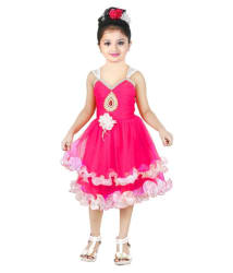 Nikunj Pink Net Frock For Girls