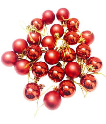 Priyankish Plastic Christmas Tree Decoration Red-(Pack of 24)