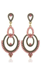 YouBella Fashion Jewellery Bohemian Stylish Fancy Party Wear Earrings for Girls and Women (Pink)