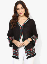 3/4Th Sleeves Open Shrug With Embroidery And Tassels Detailing