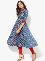 Mandarin Collar Pure Indigo Print Anarkali With Red Ikkat Detailing & 3/4Th Sleeves