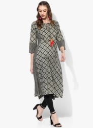 Keyhole Neck Princess Line Printed Kurta With 3/4Th Sleeves