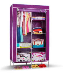 Fancy and Portable Foldable Closet/Cabinet Wardrobe Organizer With Shelves-Purple