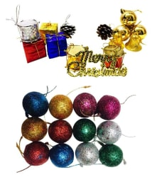Priyankish Plastic Multicolour Christmas Tree Decoration-(Pack of 32)