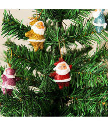 Unique Arts & Interiors Fabric Multicolour Christmas Tree Decoration-(Pack of 6)