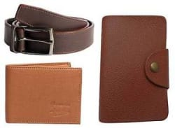 Faux Leather combo of wallet and belt and card holder