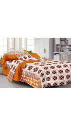 Story@Home Spark 208 TC Abstract 100 % Cotton Bedsheet for Single Bed with 1 Pillow Cover, Orange