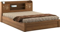 Spacewood Engineered Wood Queen Box Bed (Finish Color - Natural Teak)