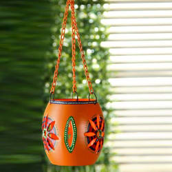 ExclusiveLane Handpainted Metal Hanging Iron 1 - Cup Tealight Holder (Orange, Pack of 1)