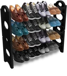 Frazzer Plastic Collapsible Shoe Stand (Black, White, 4 Shelves)