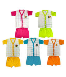 Heart Beat Pack of 10 Printed Matching Color Top and Bottom Set (5 T-shirts+5 Shorts)