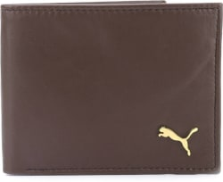 Puma Men Brown Genuine Leather Wallet 4 Card Slots