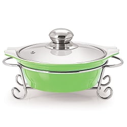 Cello Prego Cucina Round Casserole With Metal Stand 1500ml, Green