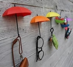 Colorful Decorative Umbrella Drop Style Clothes Key Hat Robe Hall Wall Hook