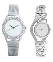Maan International Silver & White Analog Watch For Girls Pack of 2
