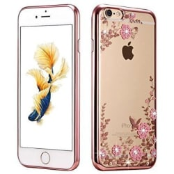 LOXXO Shockproof Silicone Soft TPU Transparent Auora Flower Case with Sparkle for Apple iPhone 6,6S Back Cover Rose Gold