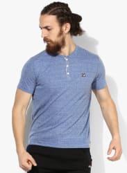 Planet Blue Textured Henley T-Shirt
