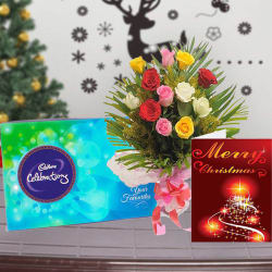 Giftacrossindia Christmas Express Gifts - Roses Bouquet With Cadbury Celebration Chocolate And Christmas Card