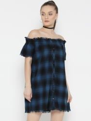 Roadster Women Blue & Black Checked Off-Shoulder Shift Dress