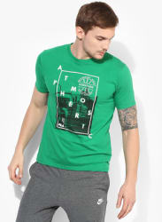 Atmosphere Green Round Neck T-Shirt
