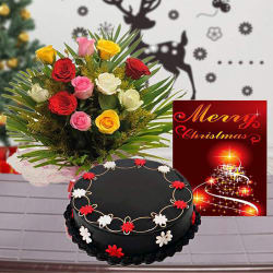 Giftacrossindia Christmas Express Gifts - Chocolate Cake With Roses Bouquet And Christmas Card