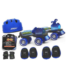 Jaspo Blue Pro Skates Combo (Skates+ Helmet+ Knee Pad+ Bag) Suitable for age from 6 to 14 years