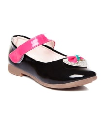 Trilokani Black Leather Ballerina For Kids