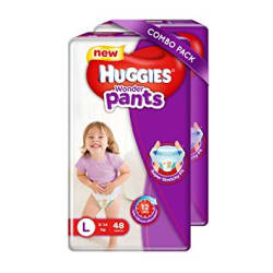 Huggies Wonder Pants Large Size Diapers (48 Counts, Pack of 2)